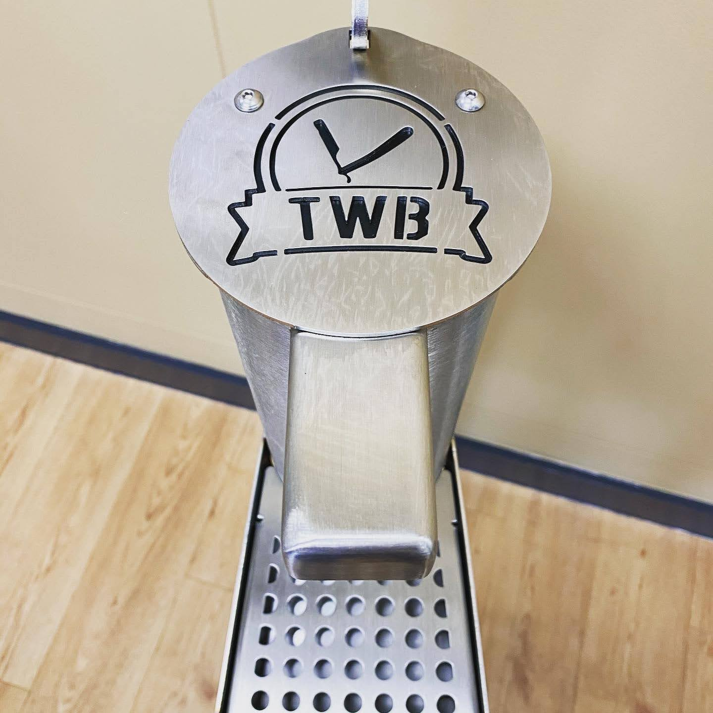 TWB logo on H360 products hand sanitiser dispenser